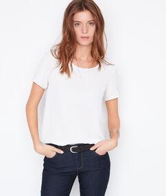 Split back short sleeve top white.