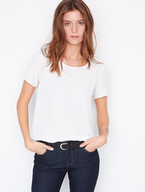 Split back short sleeve top white.
