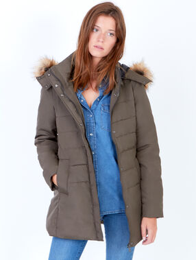 Padded jacket with faux fur hood khaki.