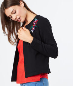Cardigan with flower embroideries black.