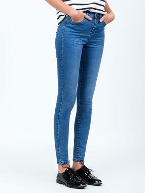 Jean slim taille haute bleu.