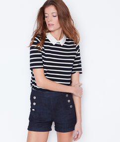 Striped top with peter pan collar navy.