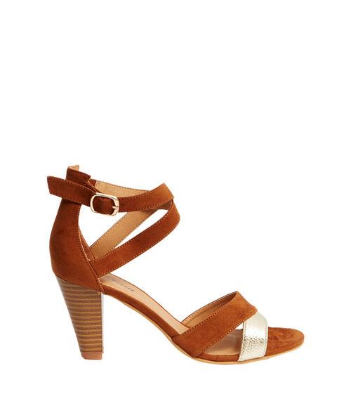 Sandales à talons effet daim et métallisées