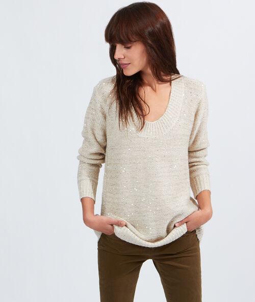 Pull tricot long à sequins