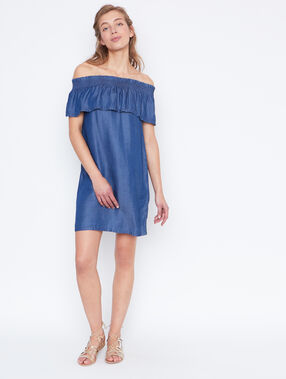 Cold shoulder dress denim.