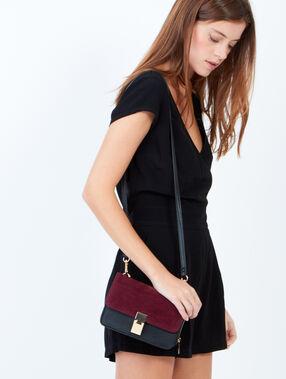 Two-tone clutch bag burgundy.