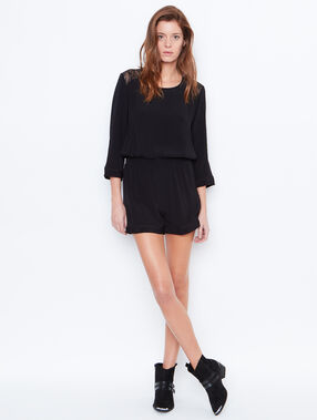 Playsuit with split back black.