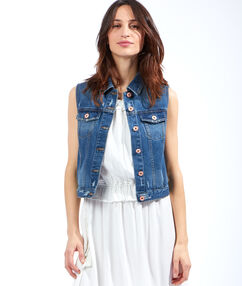 Veste en jean sans manches medium denim.