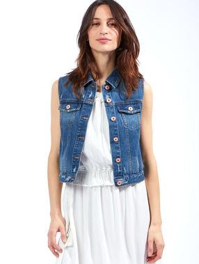 Veste en jean sans manches medium denim.