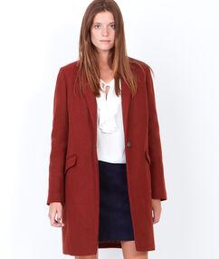 Manteau en laine à col tailleur brique.