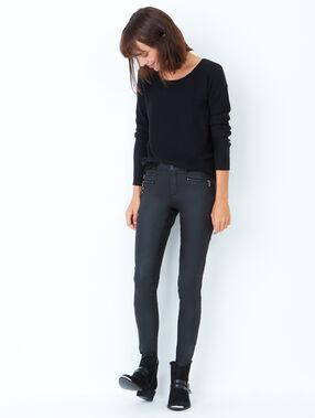 Pantalon slim enduit noir enduit.