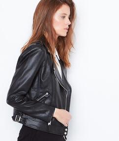 Blouson biker effet cuir noir.