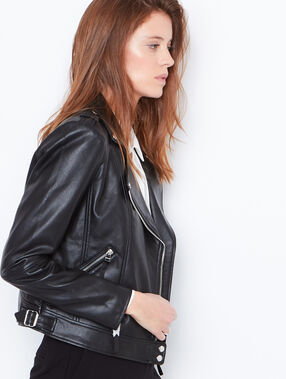 Faux leather biker jacket black.