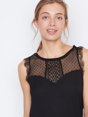 Lace sleeveless top black.