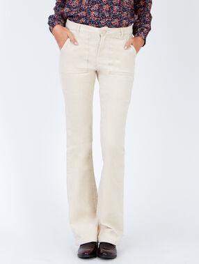 Pantalon évasé en velours côtelé creme.