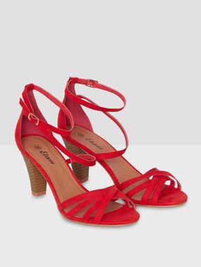 High heels sandals red.