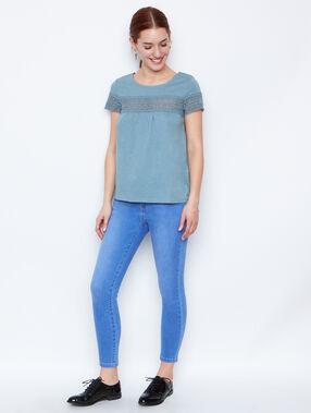 Lace short sleeves top quartz.