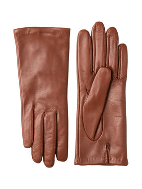 Gants en cuir brun.