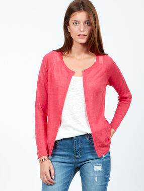Strickjacke rosa.
