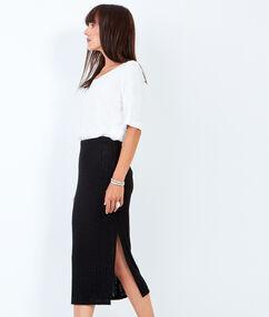 Falda midi recta negro.