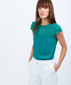 Linen and guipure top green.