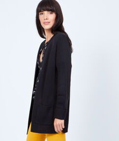 Long cardigan, chunky knit black.