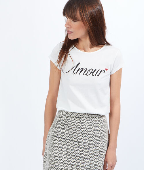 Amour print top, back lace détails