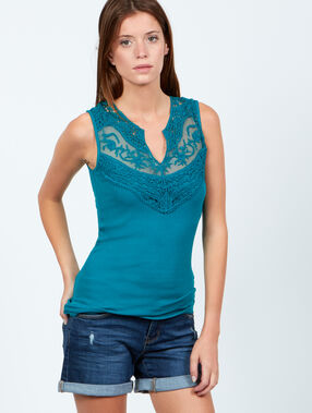 Top plastron dentelle blue.