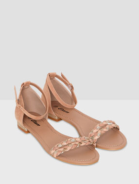 Braided sandals nude.