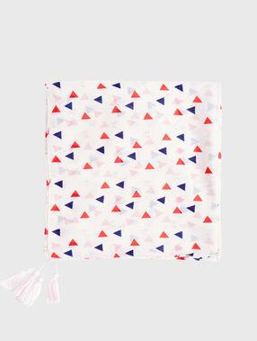 Foulard imprimé  avec ponpon blanc.