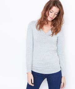 V-neck sweater with button details light grey.