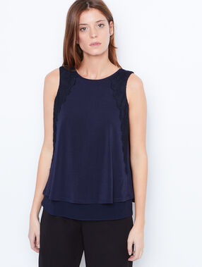 Tie neck top with lace detail navy.