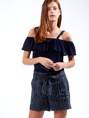 Striped linen high waisted shorts navy.