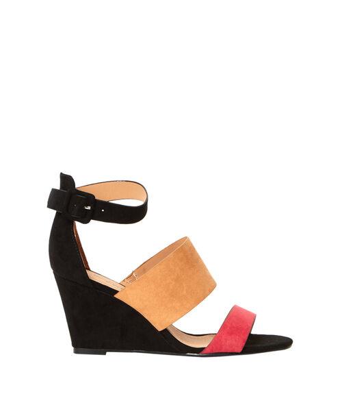 Sandales compensées tricolores