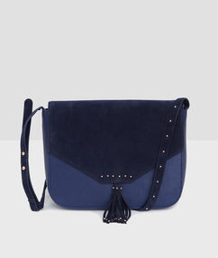 Cross body bag with pompom navy.