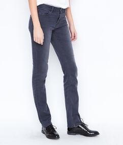 Pantalón vaquero recto gris antracita.