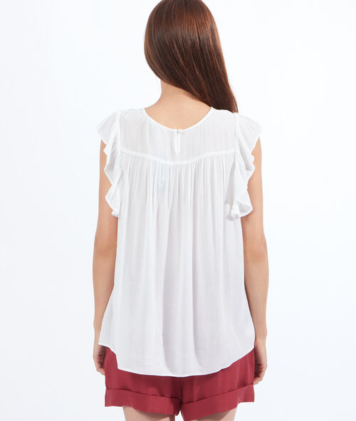 Lace detail top with ruffle sleeves