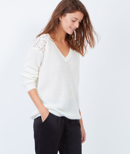 Knitted V-neck jumper with lace inserts
