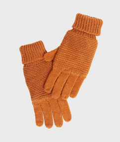 Knitted gloves mustard.