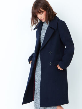 Long pea coat purple blue.
