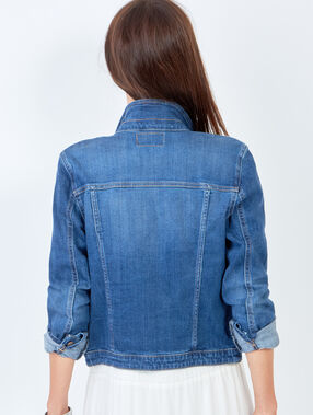 Veste en denim bleu denim.