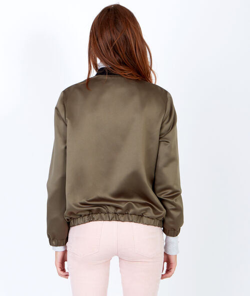 Reversible bomber jacket with a satin finish