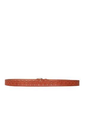 Perforated belt shiny tan.