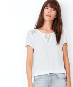 T-shirt manches courtes, détails en dentelle blanc.