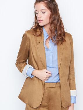 Veste blazer col tailleur en lin savane.