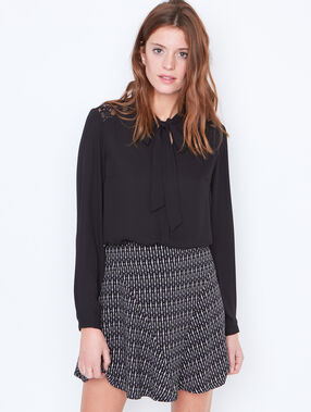 Tie neck blouse with lace detail black.