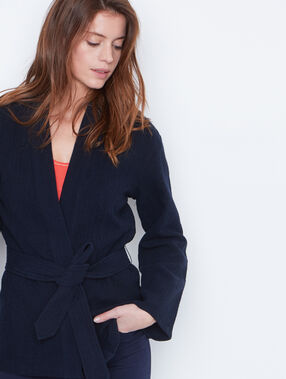Belted jacket navy.