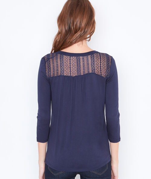 3/4 sleeve top with lace insert