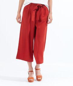 Pantalon large court, noeud taille rouille.