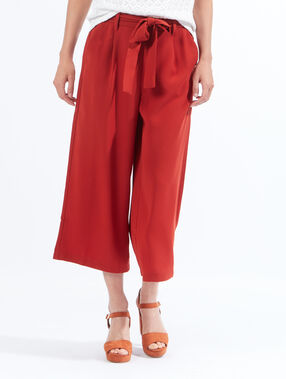 Pantalon large court, noeud taille rouille.